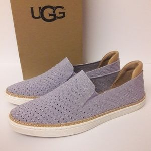 New UGG Sammy Metallic Chevron Loafers sz 9